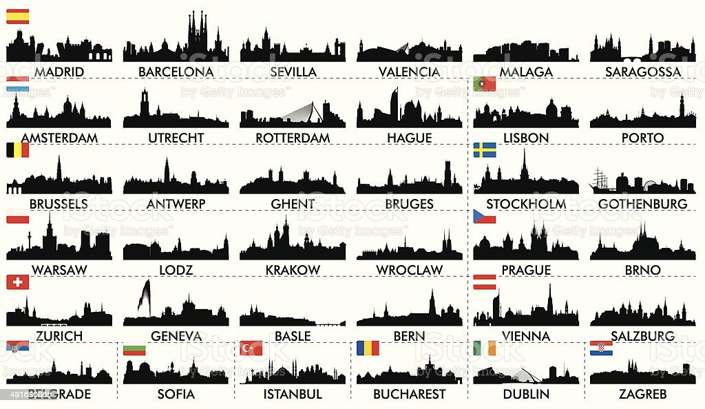 City ​​skyline European countries2 vector art illustration