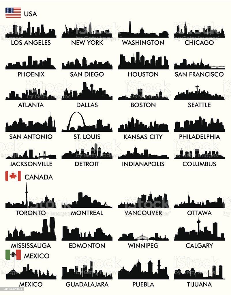 City skyline North America vector art illustration