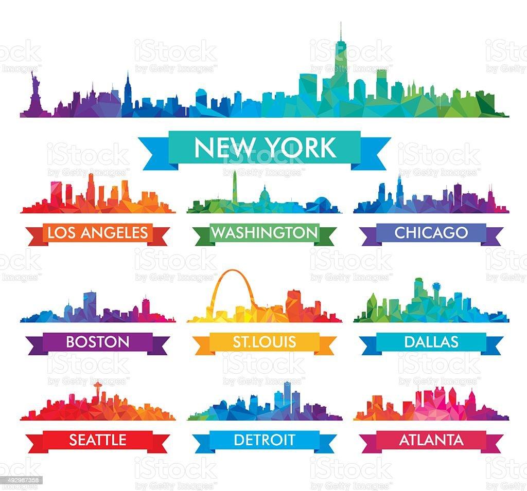 City skyline of America Colorful vector illustration vector art illustration
