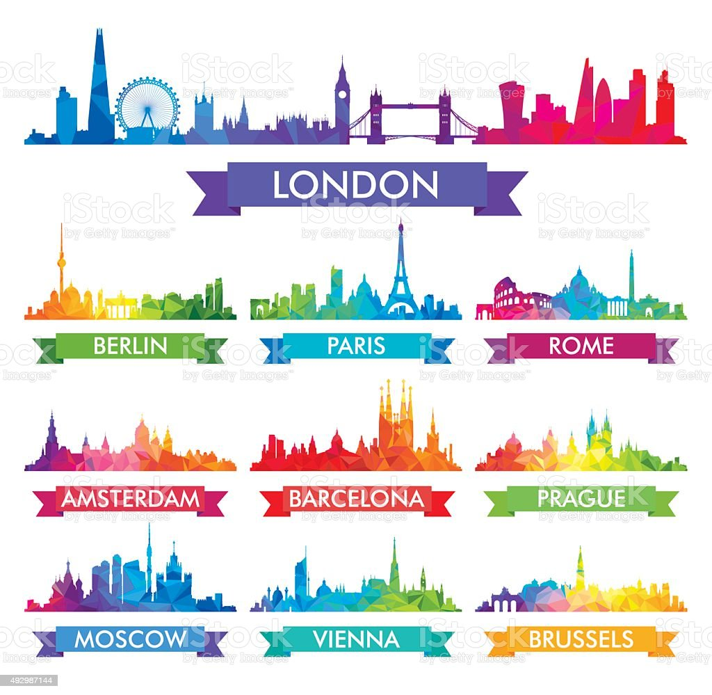City skyline of Europe Colorful vector illustration vector art illustration