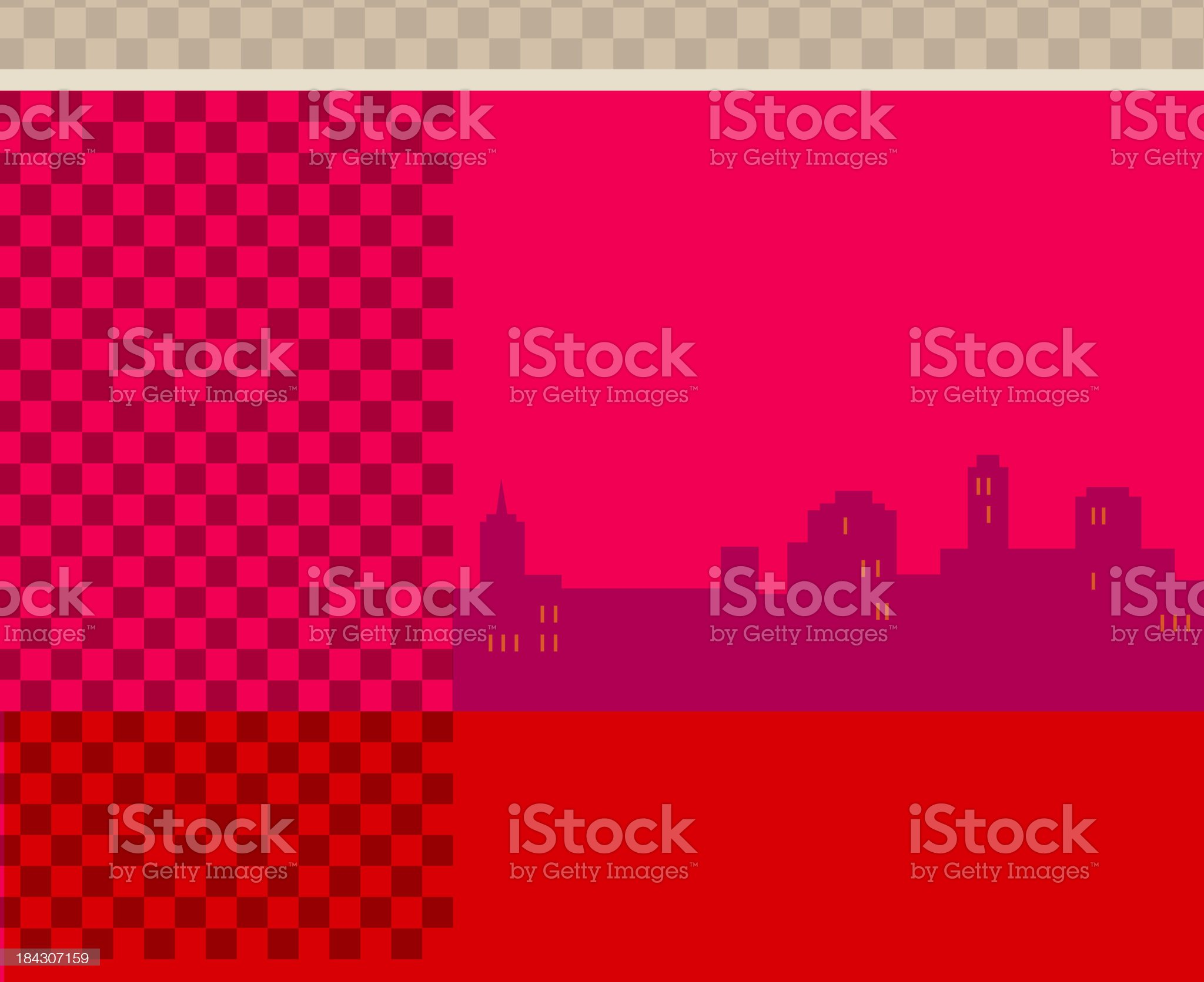 City skyline on red background royalty-free stock vector art