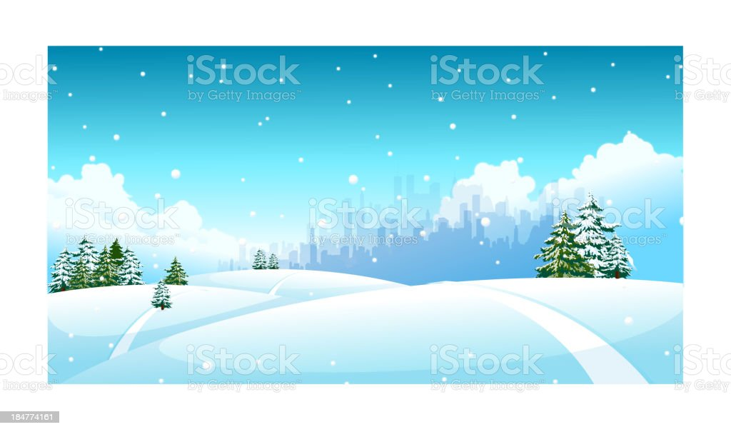 City skyline over snow landscape royalty-free stock vector art
