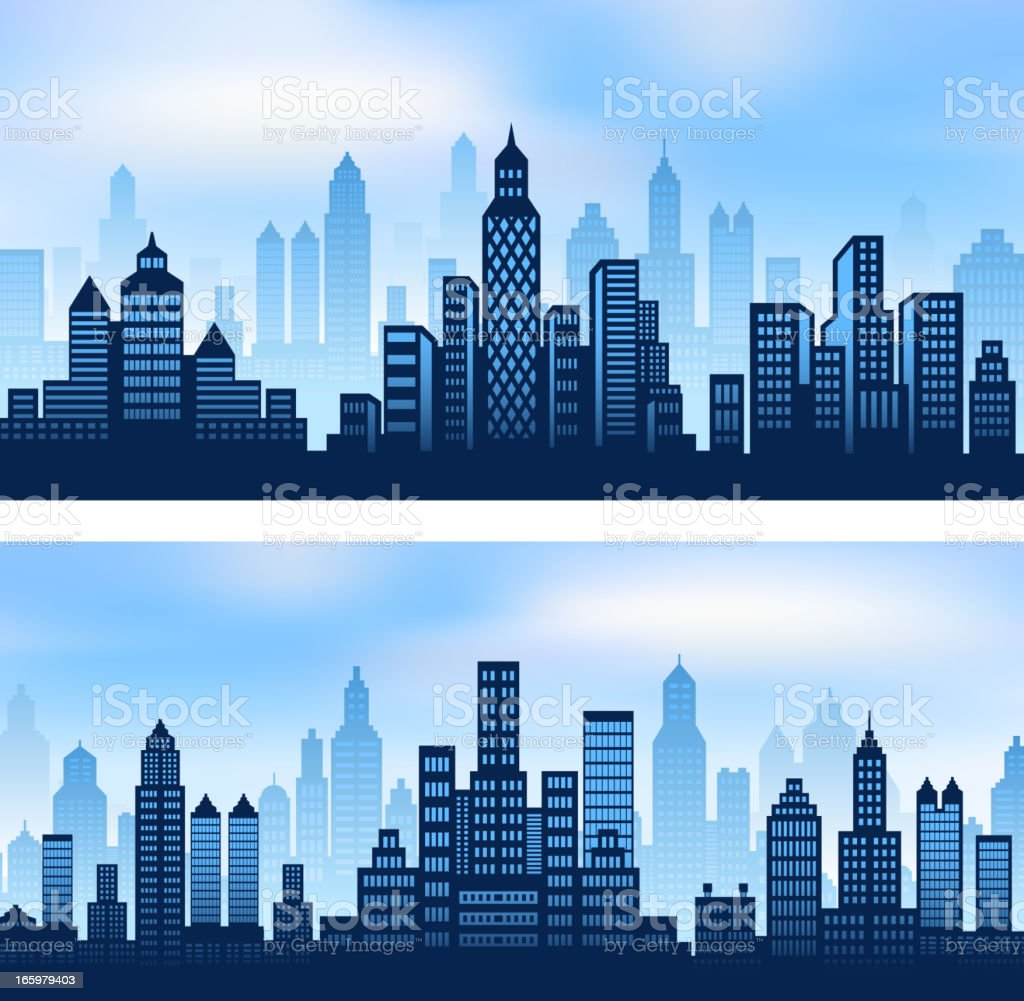 City skyline panoramic Background Set vector art illustration