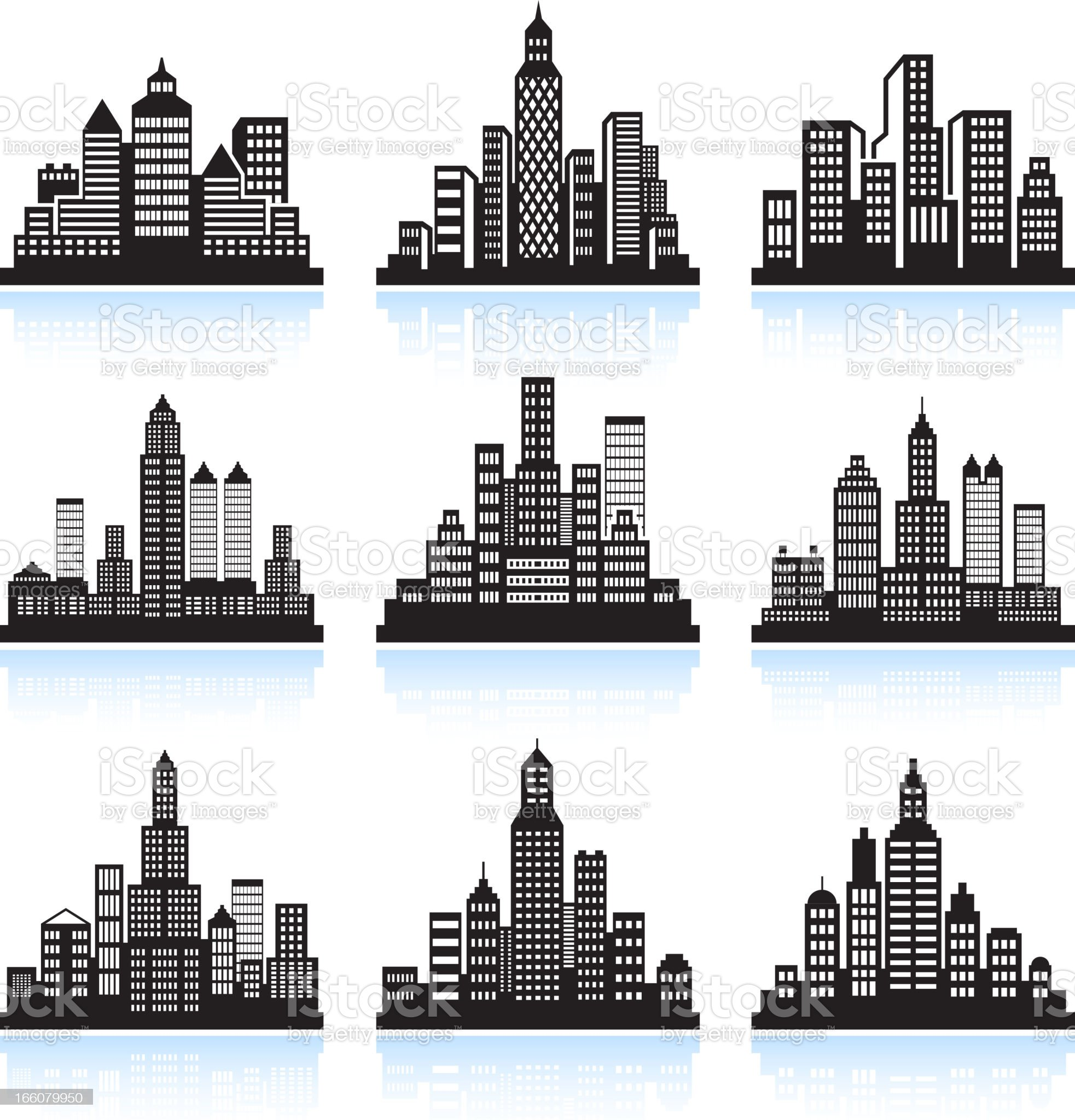 City skyline panoramic with Buildings vector icon set royalty-free stock vector art