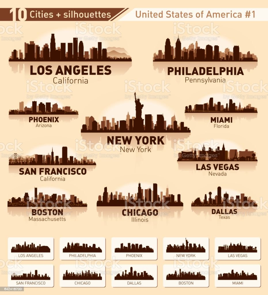 City skyline set. 10 city silhouettes of USA #1 vector art illustration