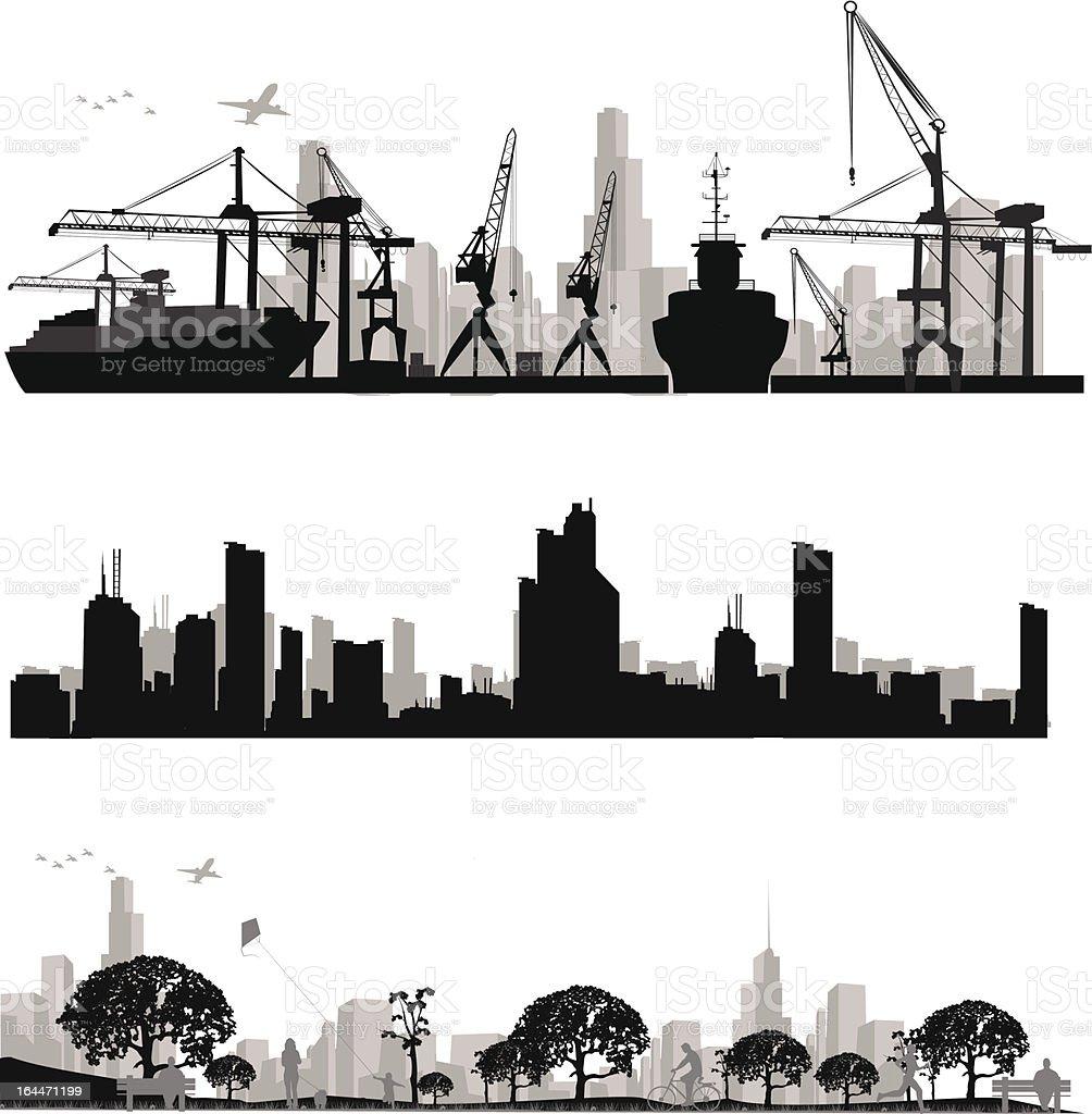 City skyline shiluettes.Vector illustration vector art illustration