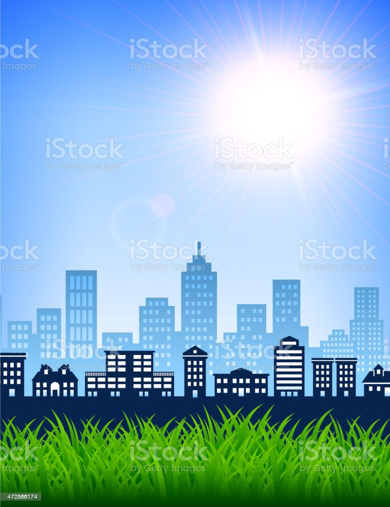 City Skyline summer day with blue sky and grass background vector art illustration