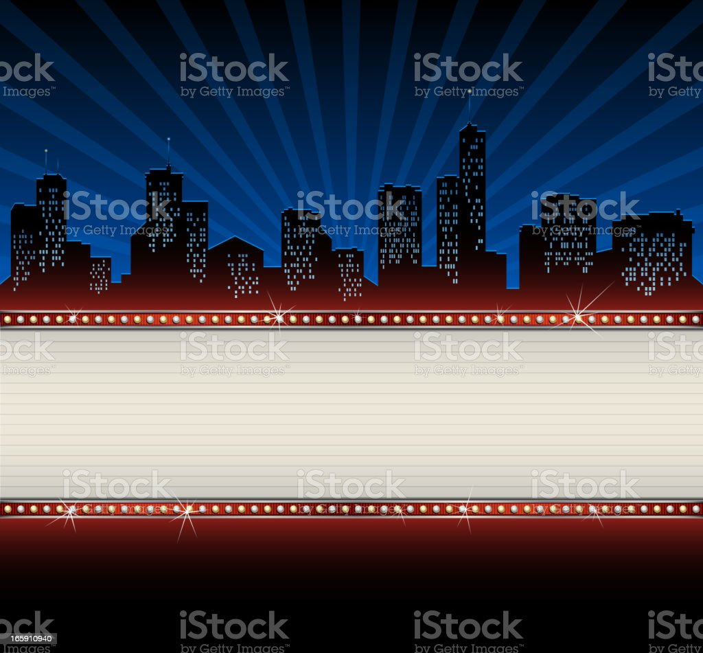 City Skyline with Banner vector art illustration