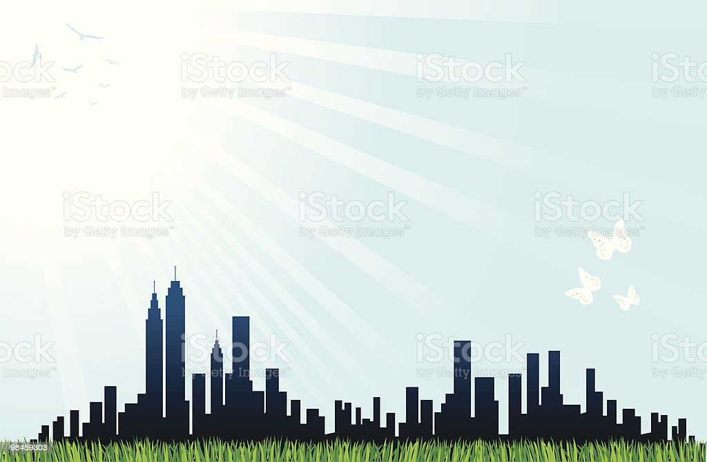 City Skyline with green grass,blue sun shine butterfly illustration royalty-free stock vector art