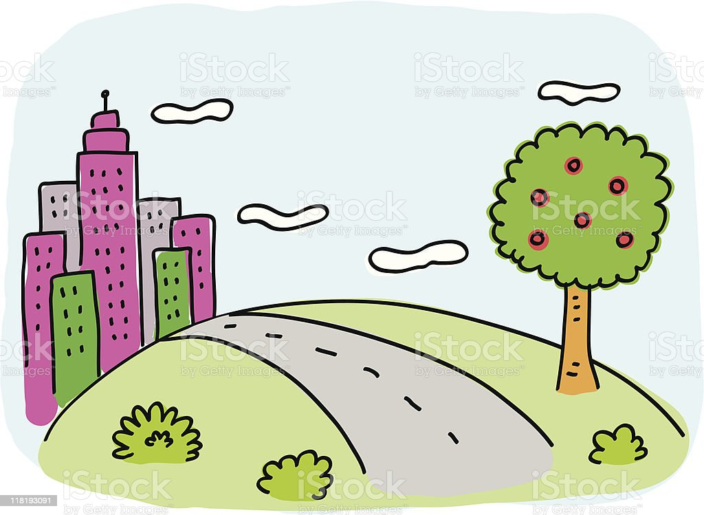 City Skyline with green nature, tree and road cartoon royalty-free stock vector art