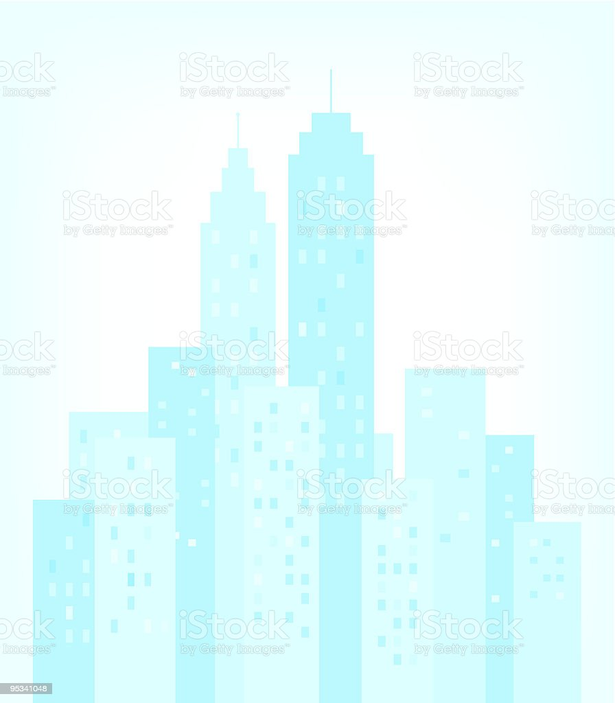 City Skyline with skyscrapers buildings silhouette vector art illustration