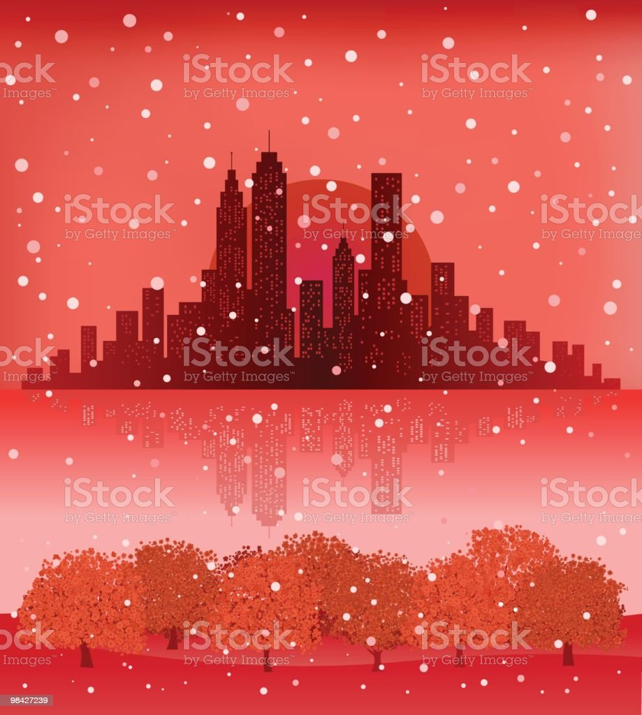 City Skyline with snowing sky,nature at Christmas new year vector art illustration