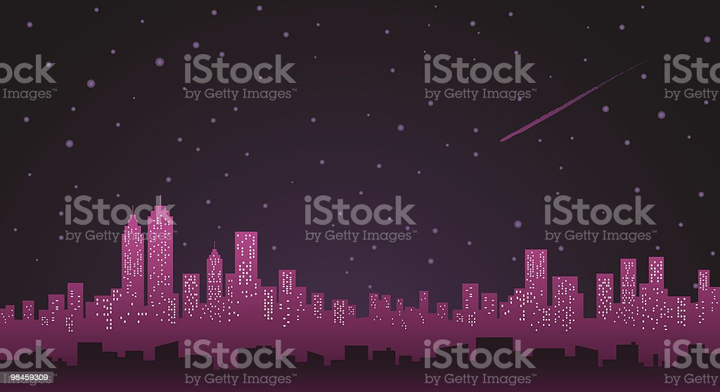 City Skyline with stars and winter sky at night royalty-free stock vector art