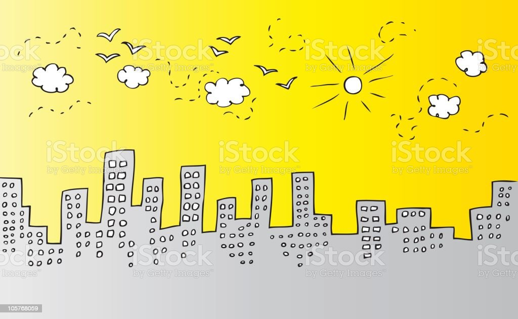 City Skyline with sunny sky, birds and clouds cartoon royalty-free stock vector art