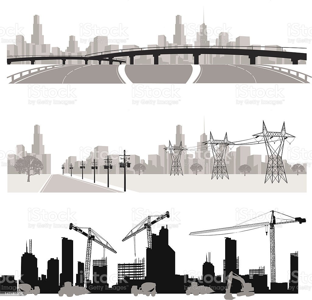 City Skylineconstruction And Highway Silhouette stock ...