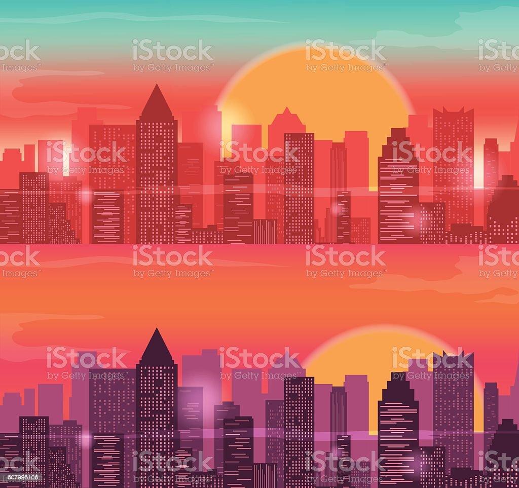 City Skylines urban landscape. Sunrise and sunset. Vector royalty-free stock vector art