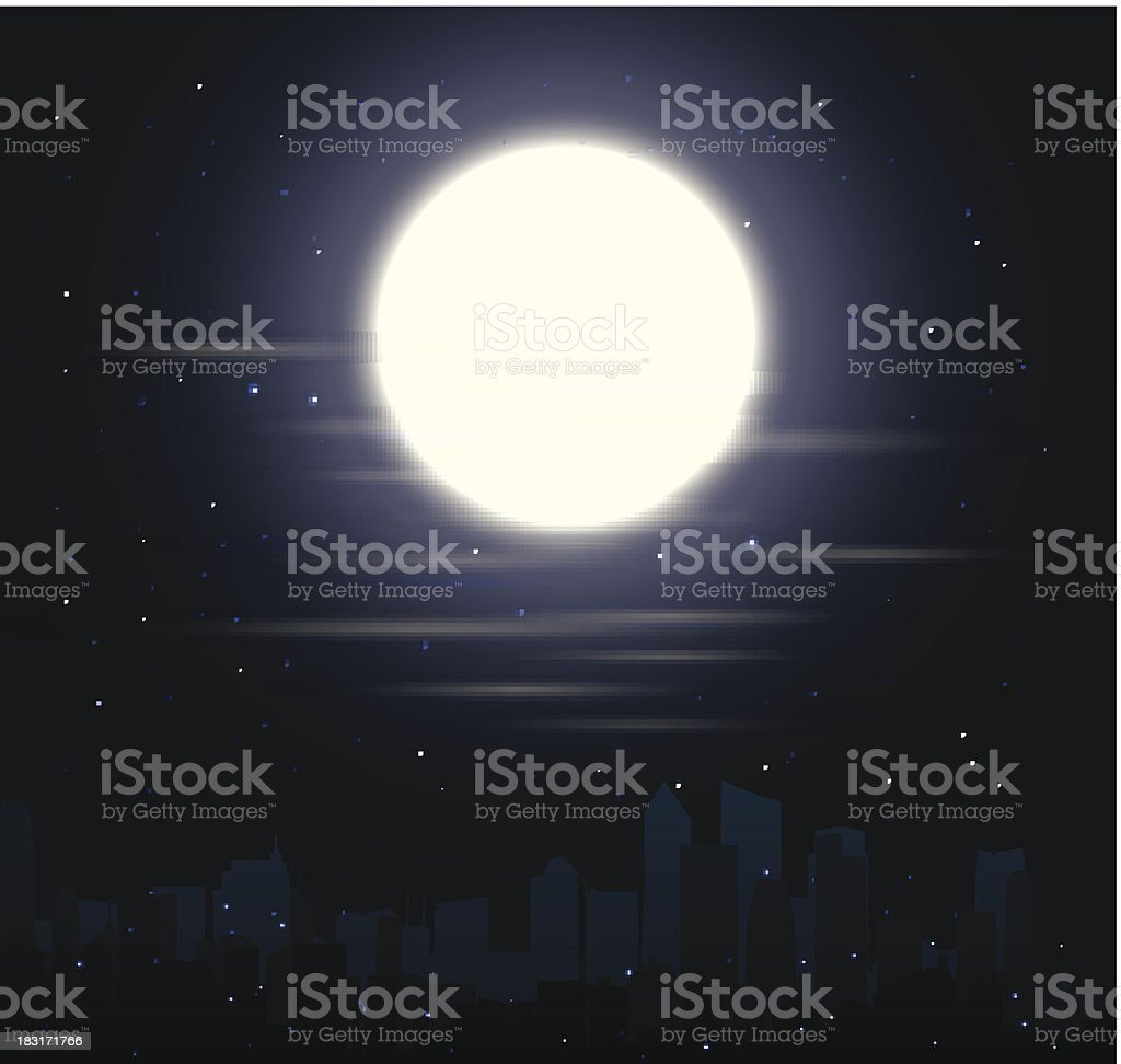 city skylines with moon royalty-free stock vector art