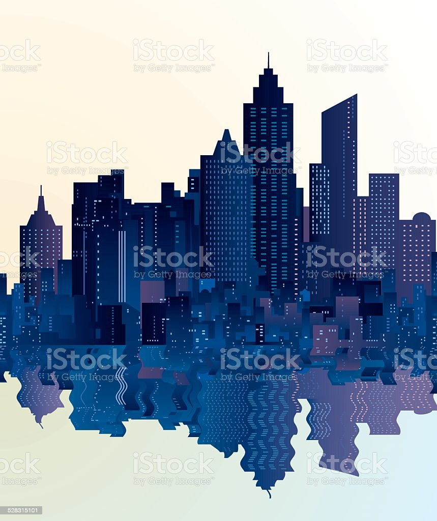 city skyscrapers reflection vector art illustration