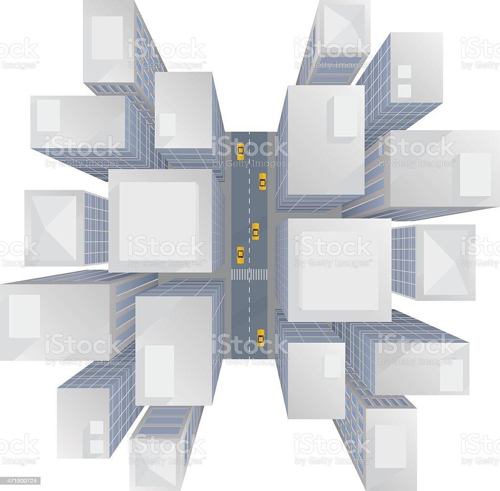 city skyscrapers top view vector art illustration