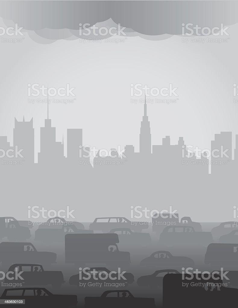 City Smog or Fog vector art illustration