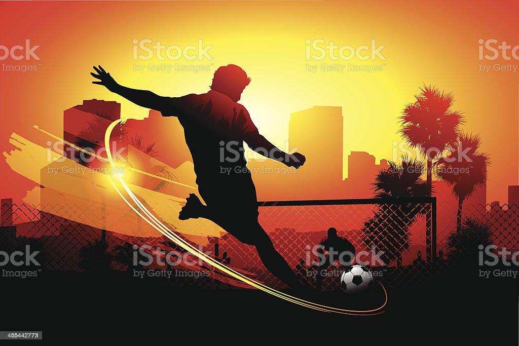 City soccer vector art illustration