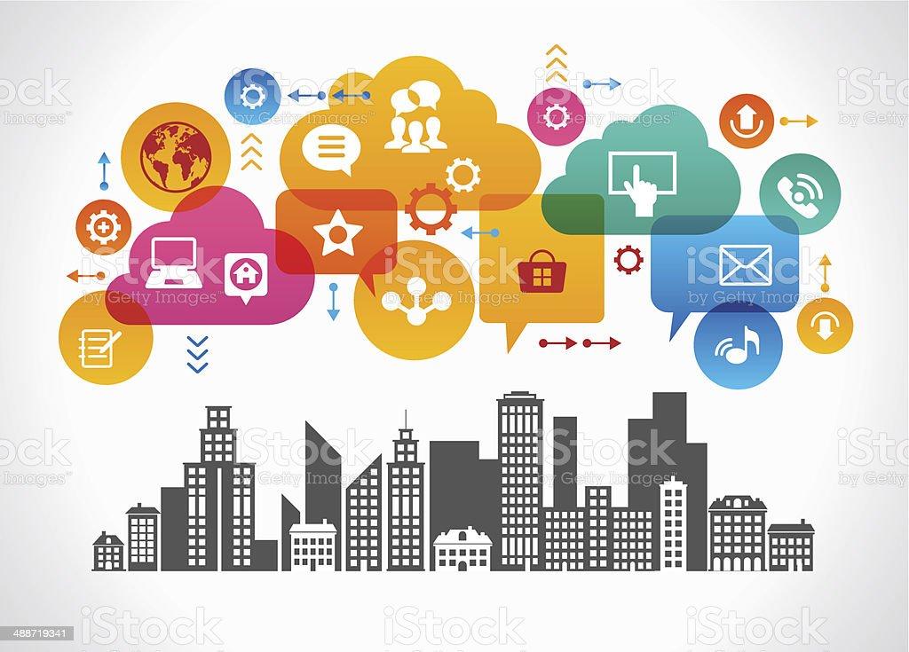 City Speech Bubbles vector art illustration