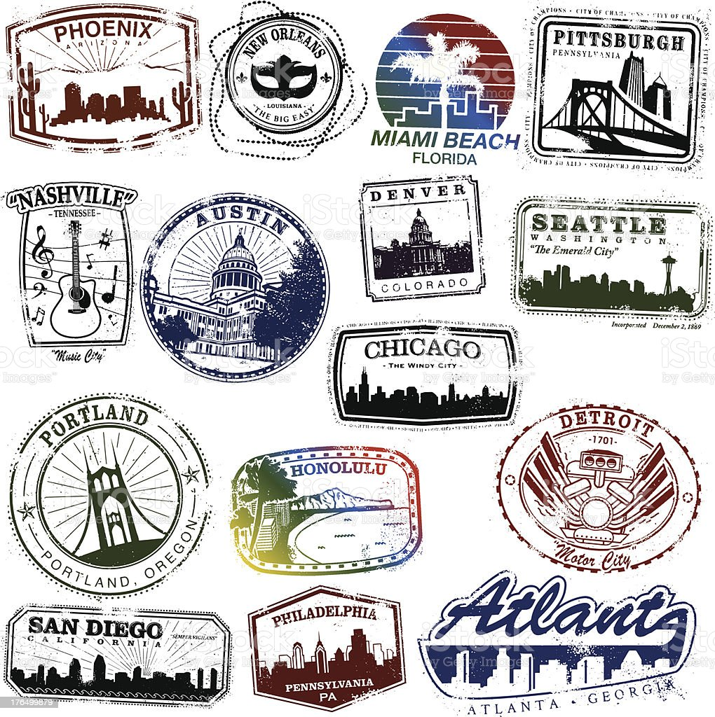 US City Stamps vector art illustration