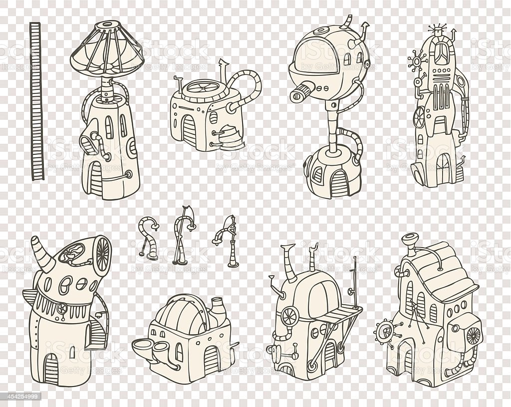 City steampunk set1 2013 royalty-free stock vector art