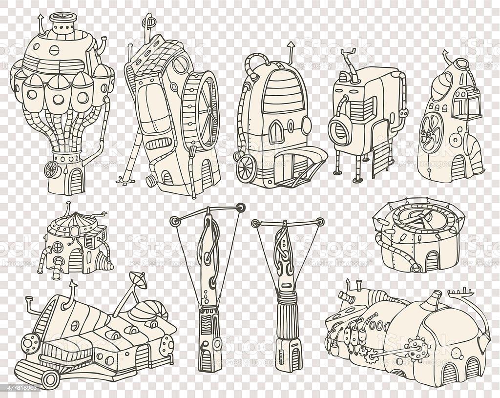 City steampunk set3 2013 royalty-free stock vector art