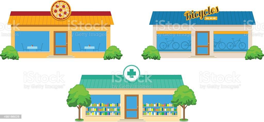 City Store Buildings Set vector art illustration