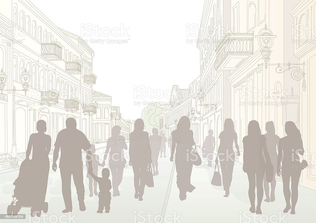 City street and people silhouettes vector art illustration