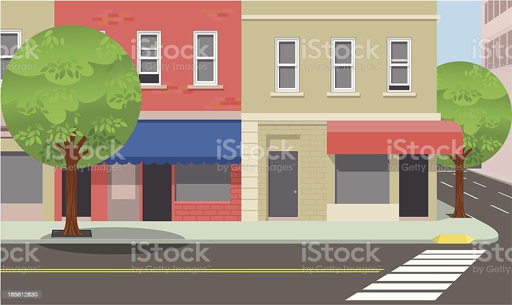 City street corner vector art illustration