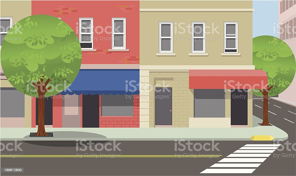 City street corner vector art illustration