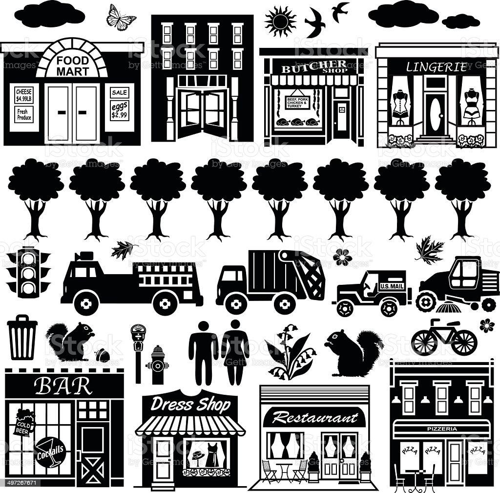 city street design elements vector art illustration