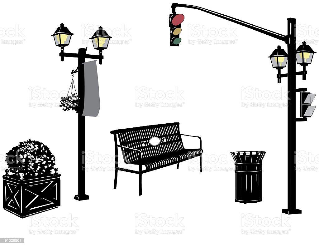 City Street Elements - Lightpost,Streetlight,Bench and Garbage Can vector art illustration
