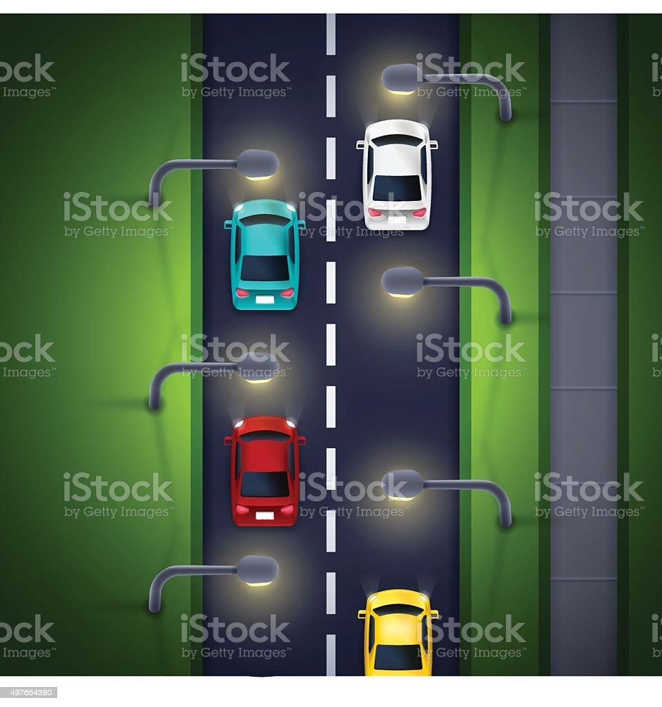 City Street Lighting vector art illustration