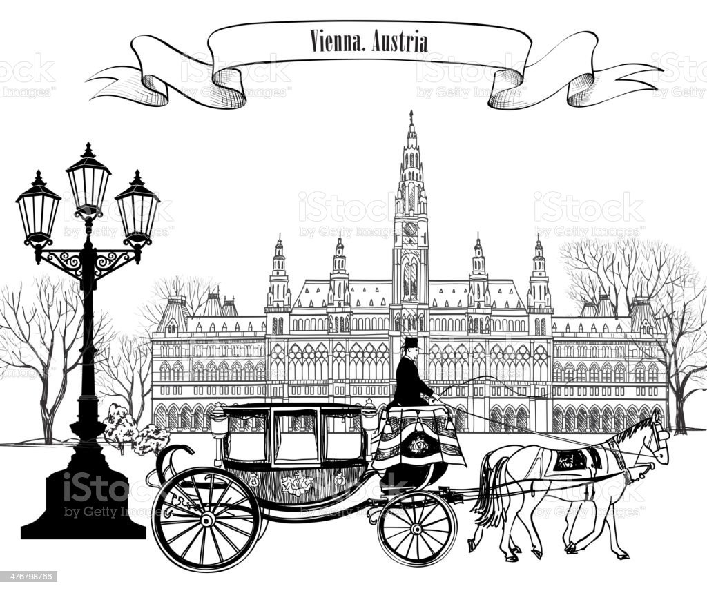 City street: old building and carriage. Travel Europe card. vector art illustration