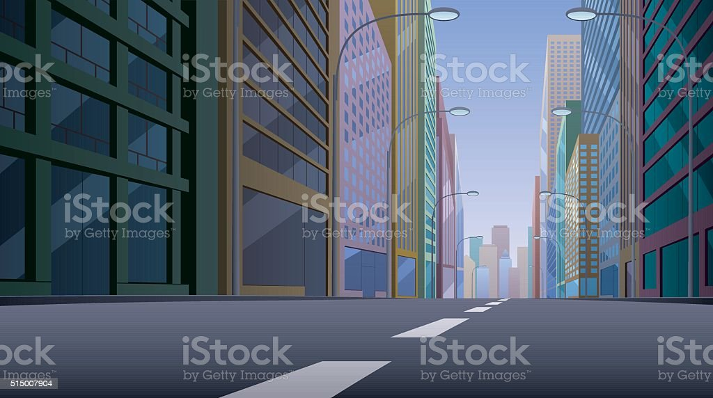 City Street vector art illustration