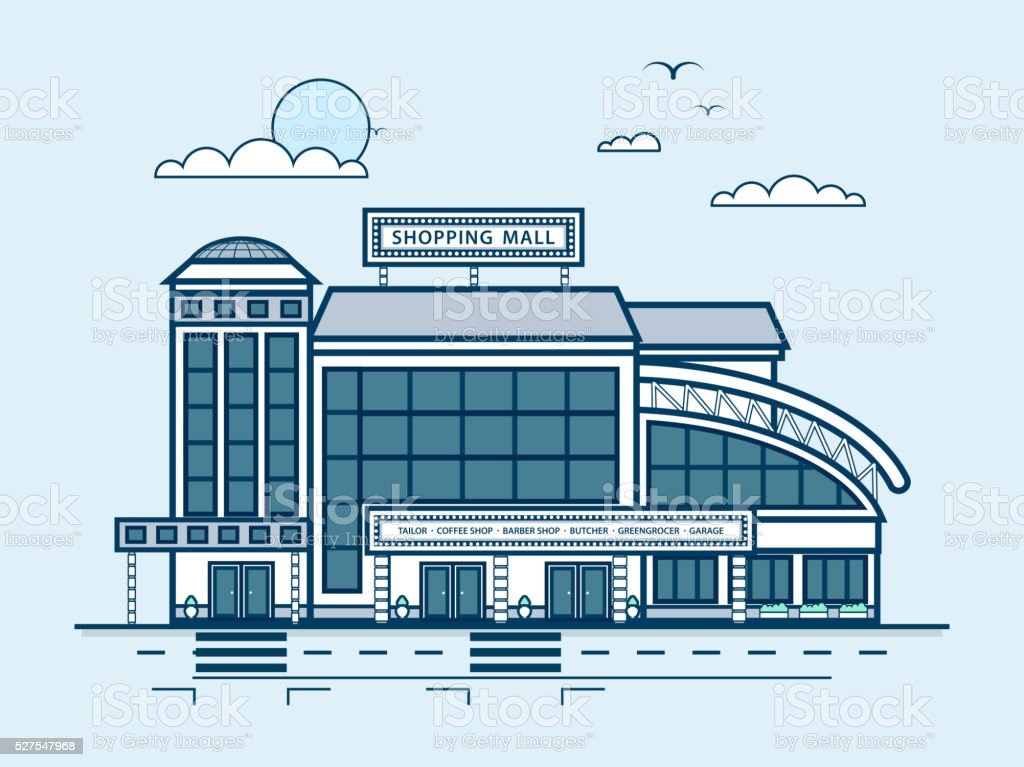 city street with Moll, shopping center, modern architecture in line vector art illustration