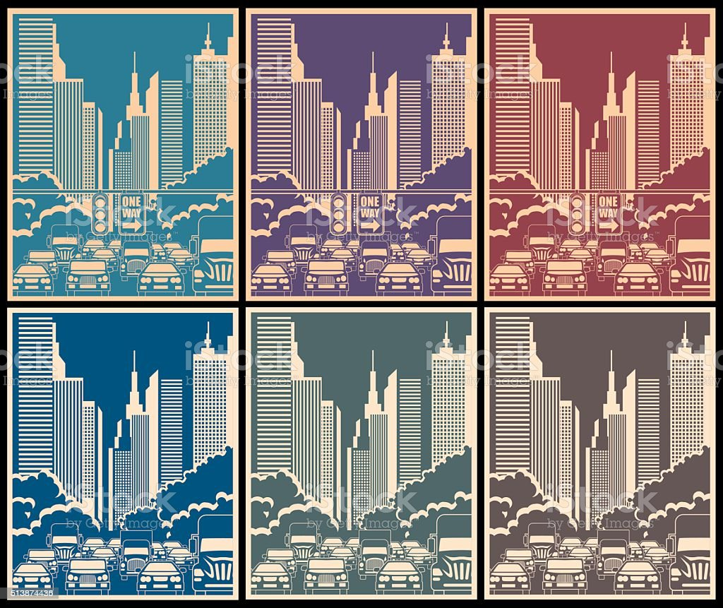 city streets vector art illustration