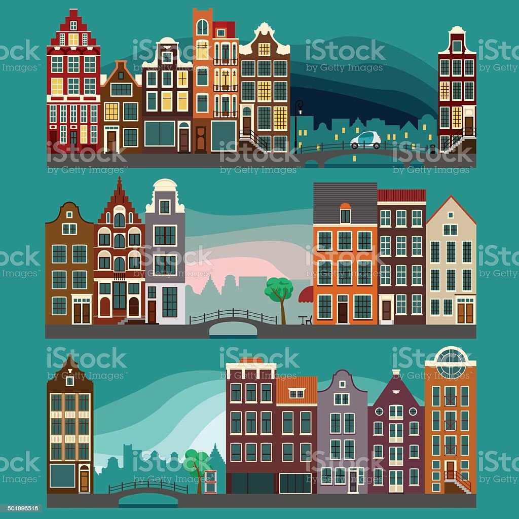 City Streets  with Old Buildings vector art illustration