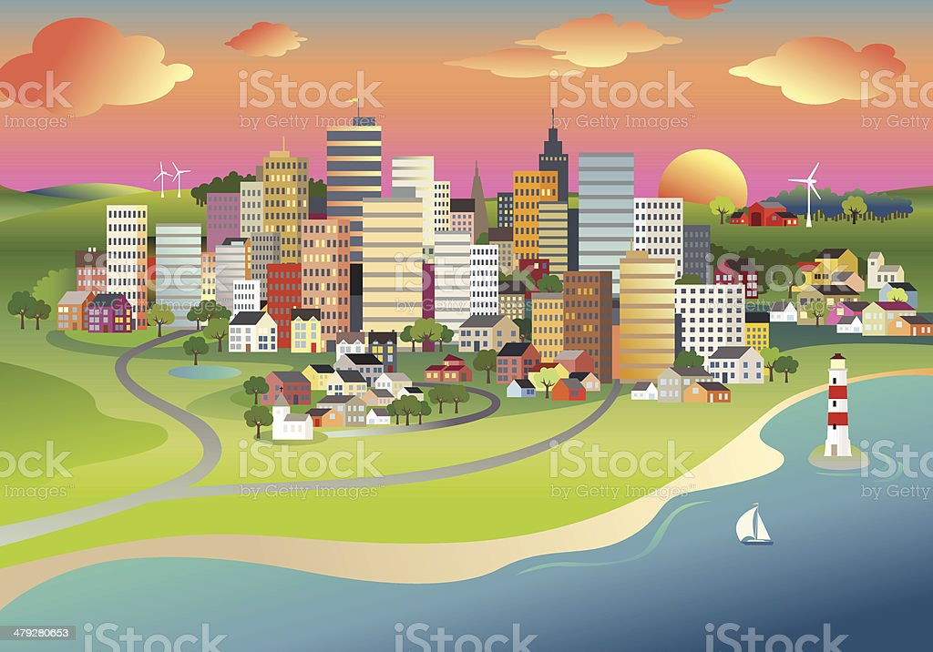 City sunrise vector art illustration
