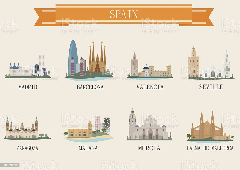 City symbol. Spain vector art illustration