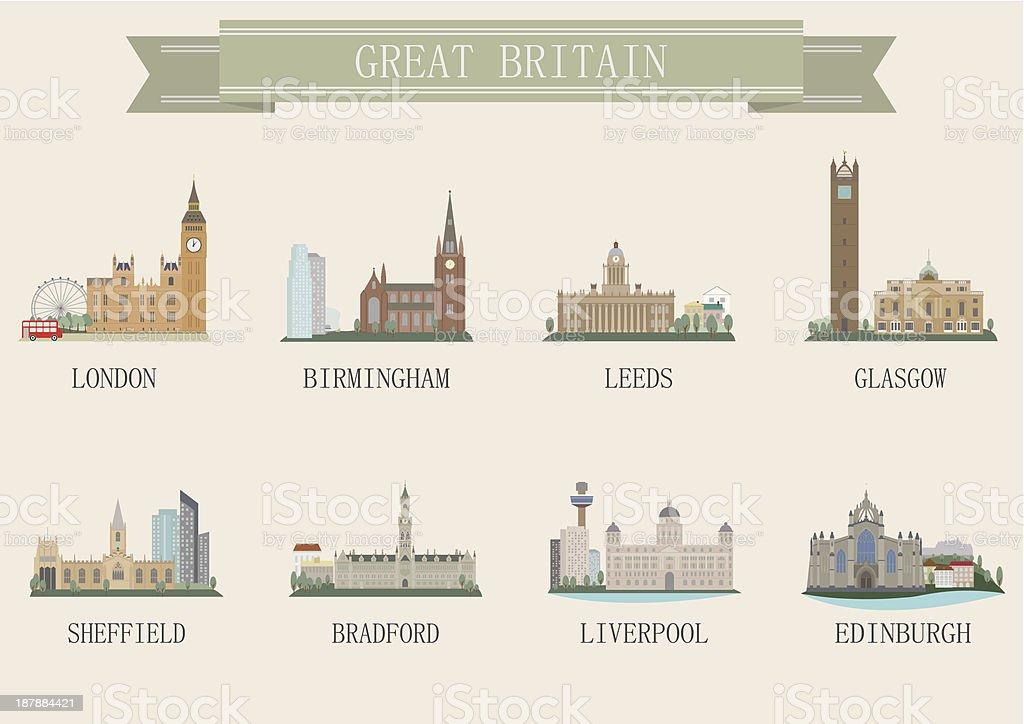 City symbol. UK vector art illustration
