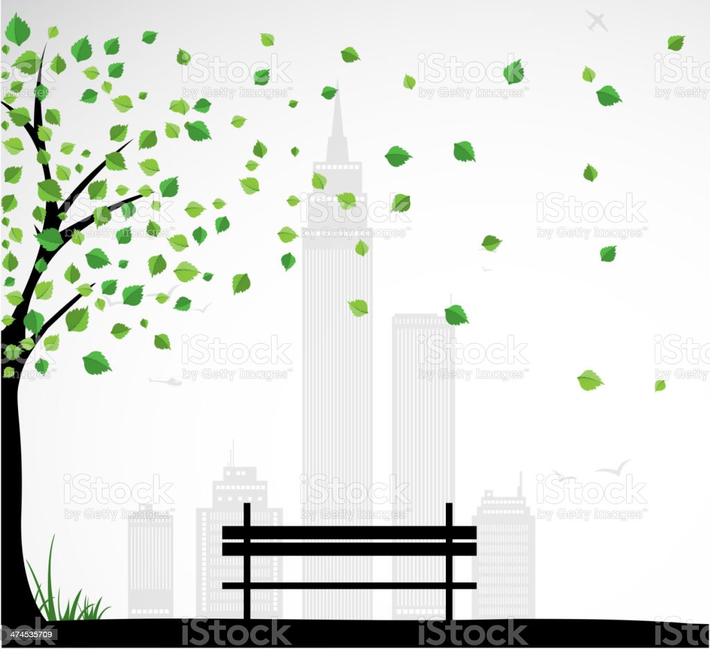City theme Background with abstract tree. Vector vector art illustration