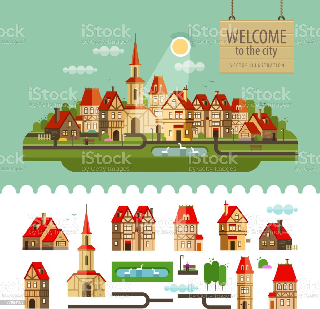 City, town. set of elements - home, church, lake, trees vector art illustration