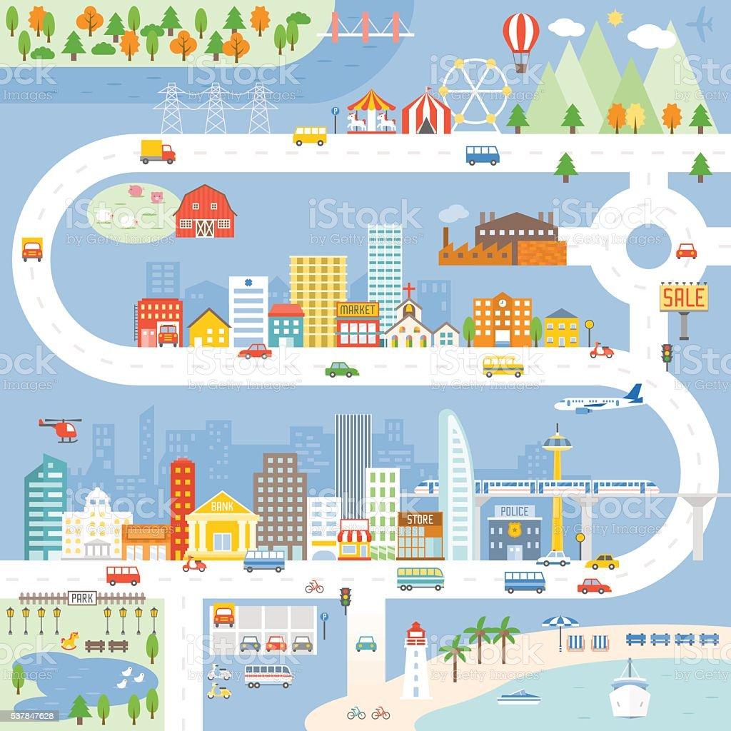 City, Town, Village info graphic, Vector illustration. vector art illustration