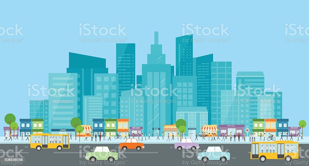 city traffic .people business in city .business communication.crowd on street.city life. vector art illustration