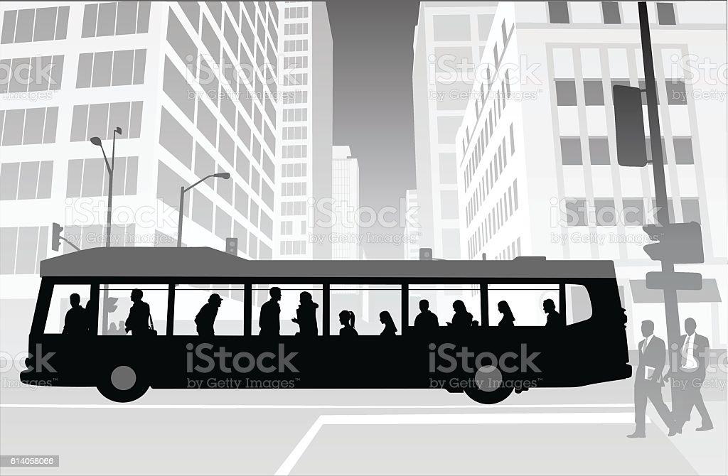 City Transit Skyscrapers vector art illustration