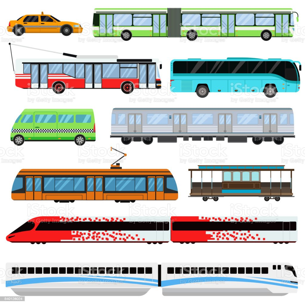 City transport set vector illustration. vector art illustration
